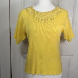 Lisa intl Yellow Stretch Top w Veil of Beads M